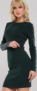 Zielona sukienka Renee z okrągłym dekoltem w stylu casual