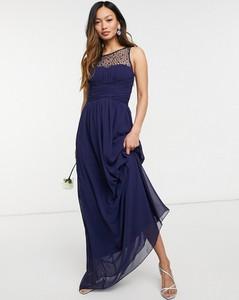 Granatowa sukienka Little Mistress bez rękawów maxi z okrągłym dekoltem