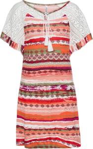 Sukienka bonprix RAINBOW mini z krótkim rękawem z okrągłym dekoltem
