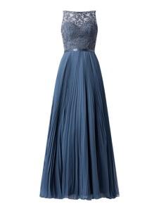 Niebieska sukienka Luxuar bez rękawów z okrągłym dekoltem maxi