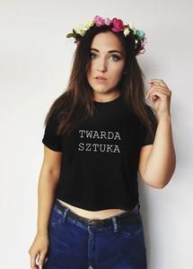 Czarny t-shirt Time For Fashion z okrągłym dekoltem z bawełny w młodzieżowym stylu