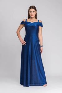 Niebieska sukienka Semper maxi z okrągłym dekoltem