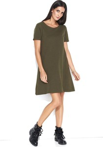 Zielona sukienka Makadamia z krótkim rękawem mini z bawełny