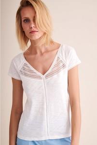 Bluzka Tatuum z dekoltem w kształcie litery v z bawełny z krótkim rękawem
