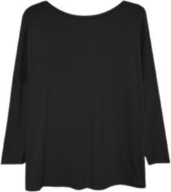 Czarna bluzka ECHO z dresówki z okrągłym dekoltem w stylu casual