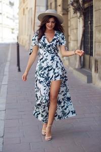 Sukienka Ivon z krótkim rękawem maxi z dekoltem w kształcie litery v