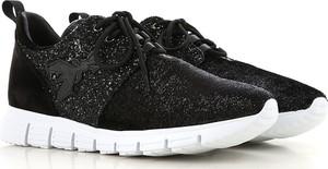Czarne buty sportowe Patrizia Pepe z płaską podeszwą w młodzieżowym stylu sznurowane