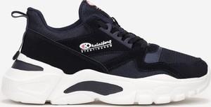 Granatowe buty sportowe born2be w sportowym stylu sznurowane ze skóry