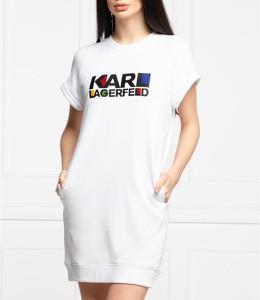 Sukienka Karl Lagerfeld z okrągłym dekoltem z krótkim rękawem