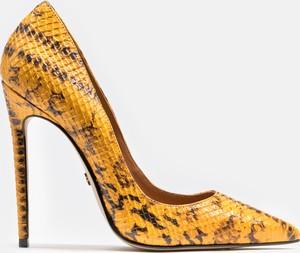 Żółte szpilki Kazar na szpilce w stylu klasycznym ze skóry