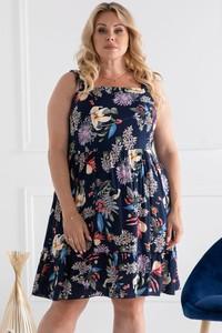 Granatowa sukienka KARKO z okrągłym dekoltem