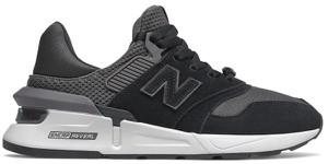 Czarne buty sportowe New Balance w młodzieżowym stylu ze skóry