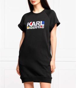 Sukienka Karl Lagerfeld prosta z krótkim rękawem z okrągłym dekoltem