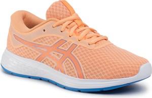 Pomarańczowe buty sportowe dziecięce ASICS sznurowane