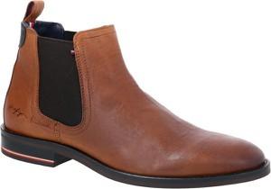 Brązowe buty zimowe Tommy Hilfiger ze skóry