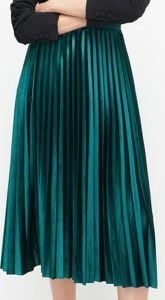 Turkusowa spódnica Reserved z weluru midi