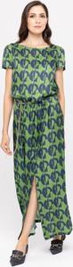 Sukienka Deni Cler z jedwabiu z okrągłym dekoltem maxi