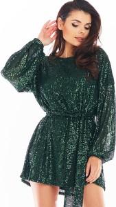 Sukienka Awama z okrągłym dekoltem mini z długim rękawem