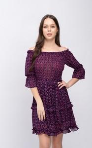 Fioletowa sukienka Justmelove z okrągłym dekoltem z długim rękawem