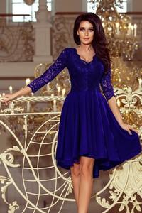 Niebieska sukienka NUMOCO z długim rękawem asymetryczna mini