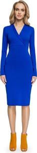 Niebieska sukienka Stylove ołówkowa z dekoltem w kształcie litery v midi