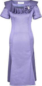Fioletowa sukienka Fokus w stylu glamour z krótkim rękawem z tkaniny