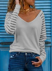 Bluzka Sandbella z długim rękawem w stylu casual z dekoltem w kształcie litery v