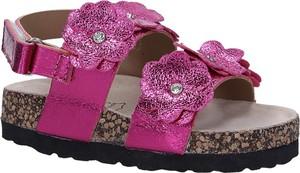 Różowe buty dziecięce letnie Casu w kwiatki na rzepy