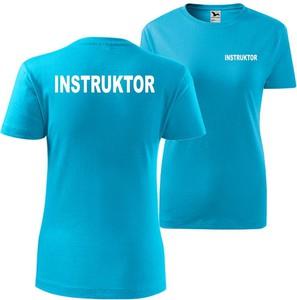 Niebieski t-shirt TopKoszulki.pl z okrągłym dekoltem z krótkim rękawem