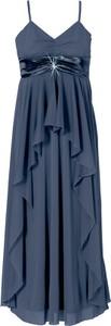 Niebieska sukienka bonprix BODYFLIRT z dekoltem w kształcie litery v rozkloszowana