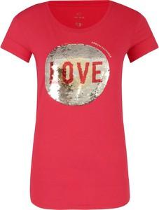 Czerwony t-shirt Armani Jeans w młodzieżowym stylu z krótkim rękawem z okrągłym dekoltem