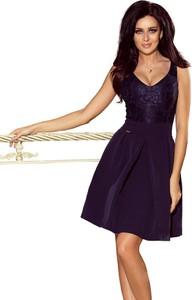 Granatowa sukienka Moda Dla Ciebie z dekoltem w kształcie litery v rozkloszowana