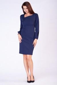 872226ecda Granatowa sukienka butik-choice.pl z długim rękawem midi