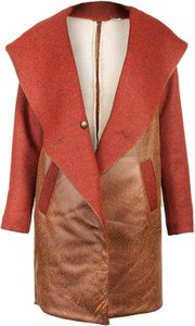 Brązowy płaszcz DIAMOND DUST ze skóry ekologicznej