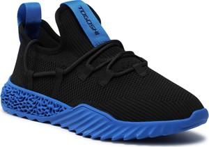 Czarne buty sportowe Togoshi ze skóry sznurowane
