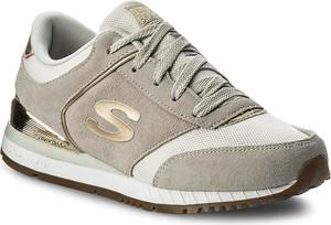 Beżowe buty sportowe skechers z płaską podeszwą z tkaniny