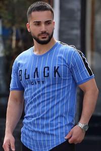 Niebieski t-shirt IVET z krótkim rękawem