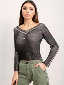 Czarna bluzka Sheandher.pl w stylu casual z długim rękawem z bawełny