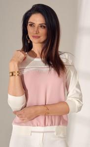 Bluzka Fasardi z okrągłym dekoltem z tkaniny