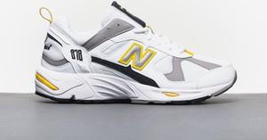 Buty sportowe New Balance sznurowane ze skóry w młodzieżowym stylu