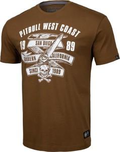 Brązowy t-shirt Pit Bull z bawełny