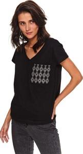 Bluzka Top Secret z krótkim rękawem z dekoltem w kształcie litery v z bawełny