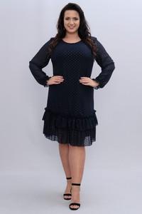 Czarna sukienka KARKO z okrągłym dekoltem z szyfonu wyszczuplająca