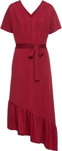 Sukienka bonprix BODYFLIRT z dekoltem w kształcie litery v z krótkim rękawem midi