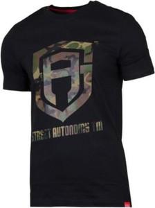 Czarny t-shirt Street Autonomy z krótkim rękawem w młodzieżowym stylu