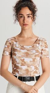 Bluzka Cropp z okrągłym dekoltem z krótkim rękawem