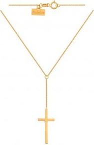 Lovrin Złoty naszyjnik 585 Modny o ankrowym splocie zakończony krzyżykiem