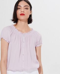Fioletowa bluzka Mohito z okrągłym dekoltem w stylu casual z krótkim rękawem