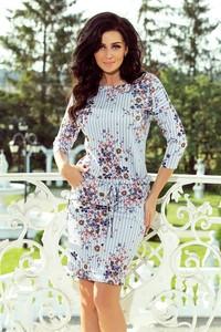 Sukienka NUMOCO z długim rękawem midi z okrągłym dekoltem
