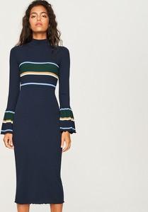 Granatowa sukienka Reserved z długim rękawem w stylu casual